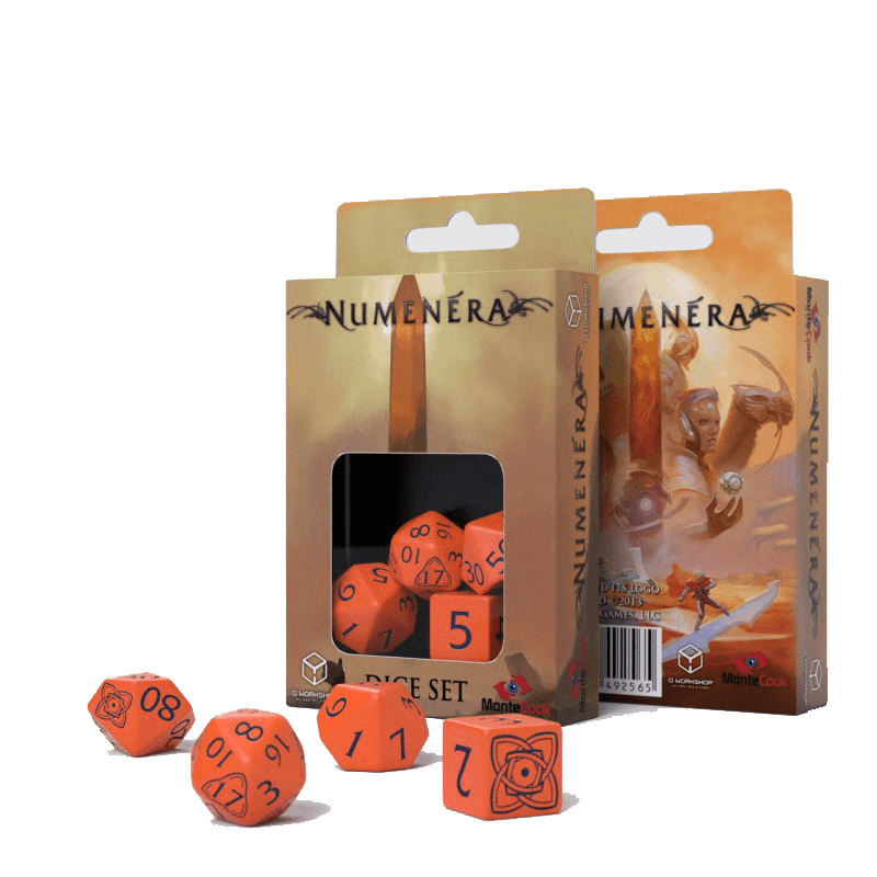 Dice 4-Set Numenera (16mm) Orange / Black