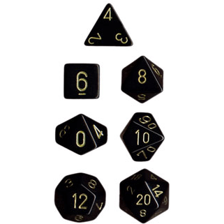 Dice 7-set Opaque (16mm) 25428 Black / Gold