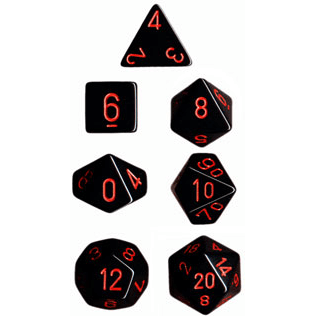 Dice 7-set Opaque (16mm) 25418 Black / Red