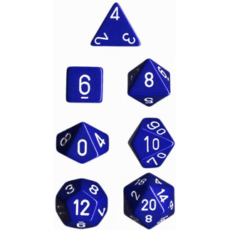 Dice 7-set Opaque (16mm) 25406 Blue / White