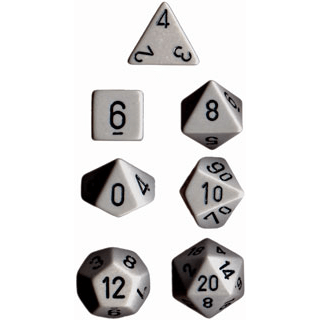 Dice 7-set Opaque (16mm) 25410 Grey / Black