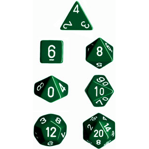 Dice 7-set Opaque (16mm) 25405 Green / White