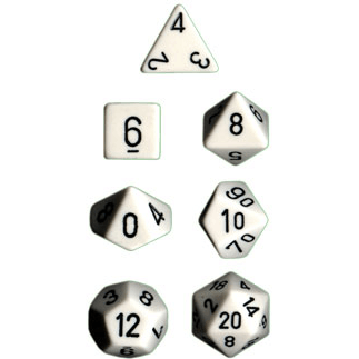 Dice 7-set Opaque (16mm) 25401 White / Black