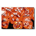 Dice Set 12d6 Translucent (16mm) 23603 Orange / White