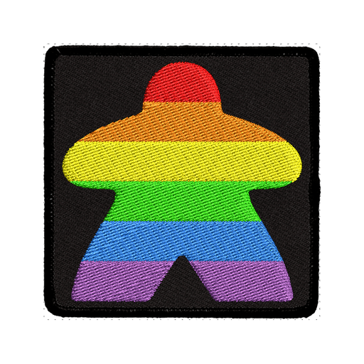 Patch (Iron On) Rainbow Meeple Black
