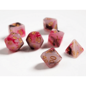 Dice 7-set Marble (16mm) Pink Black Red