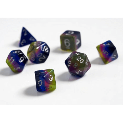 Dice 7-set Opaque (16mm) Pink Green Blue