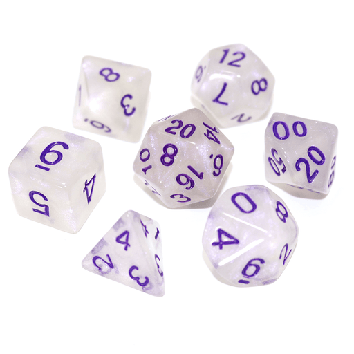Dice 7-Set Moonstone (16mm) Purple