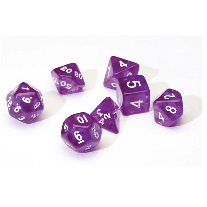 Dice 7-set Translucent (16mm) Purple
