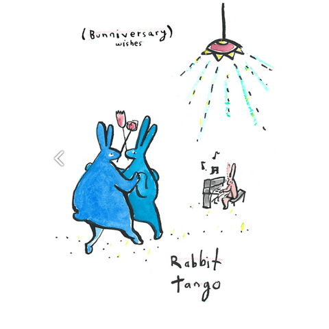 Greeting Card (5x7in) Rabbit Tango