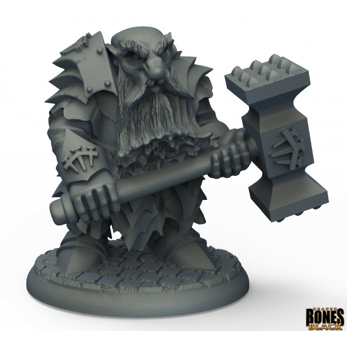 Mini - Reaper Bones Black 44010 Dark Dwarf Pounder