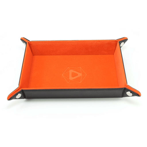 Dice Tray (8x11in) Leather Black / Velvet Orange