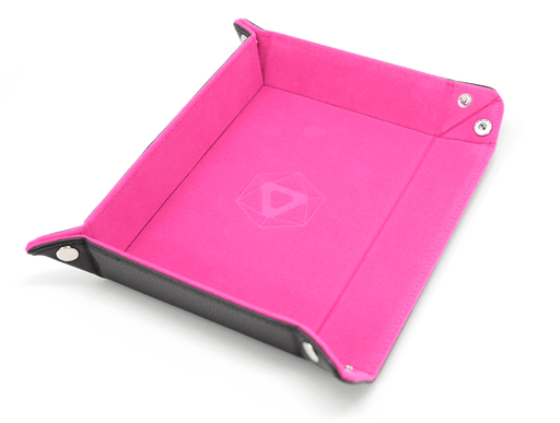 Dice Tray (8x11in) Leather Black / Velvet Pink