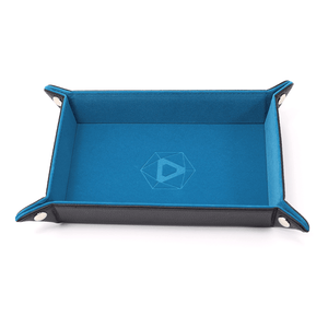 Dice Tray (8x11in) Leather Black / Velvet Teal