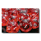 Dice Set 12d6 Translucent (16mm) 23604 Red / White