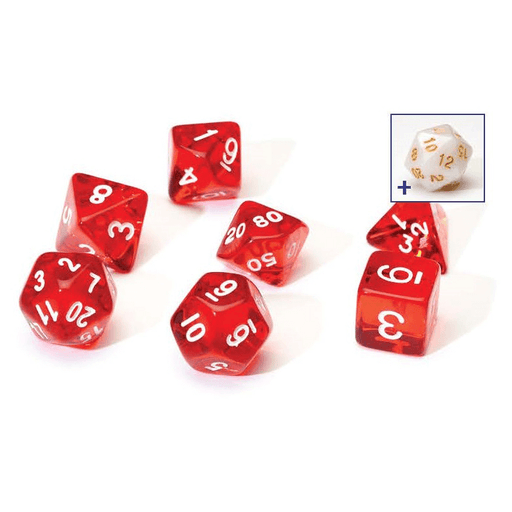 Dice 7-set Translucent (16mm) Red