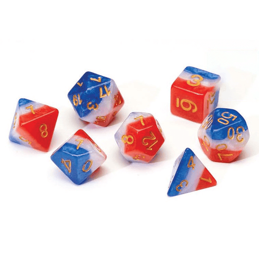 Dice 7-set Translucent Semi (16mm) Red White Blue