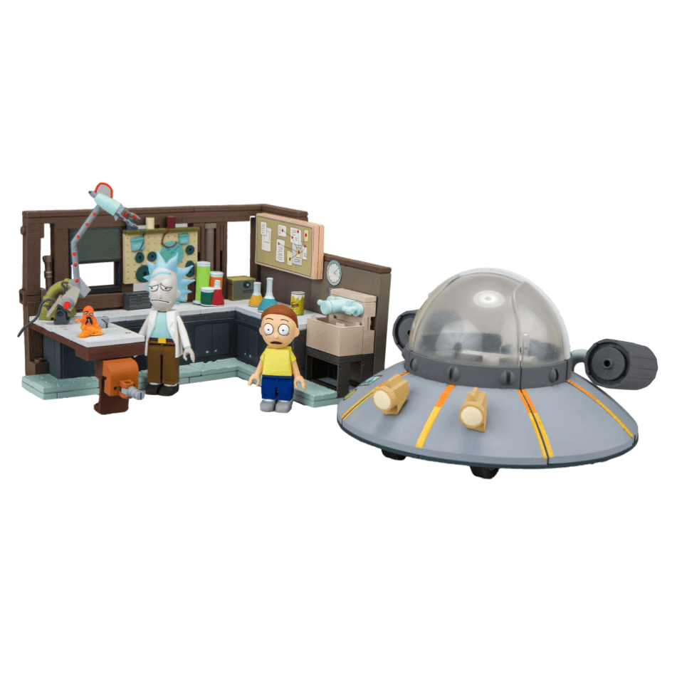 Rick and Morty Spaceship and Garage Construction Set