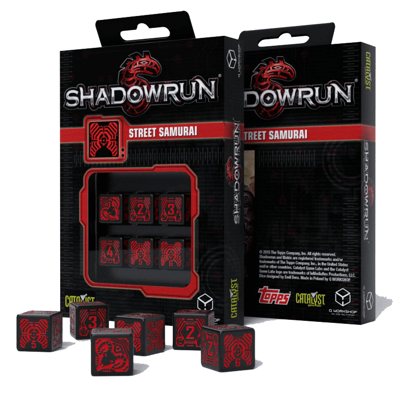 Dice Set 6d6 Shadowrun (16mm) Street Samurai