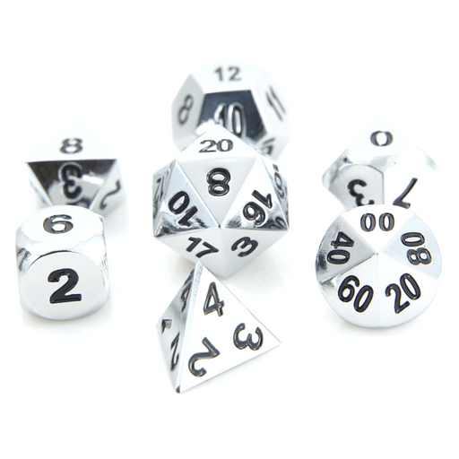 Dice 7-set Metal Classic (16mm) Shiny Silver