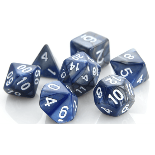Dice 7-set Alloy (16mm) Silver Blue / White