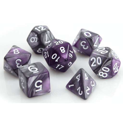 Dice 7-set Alloy (16mm) Silver Purple / White