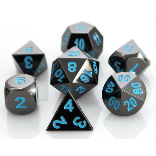 Dice 7-set Metal Classic (16mm) Sinister Chrome / Blue