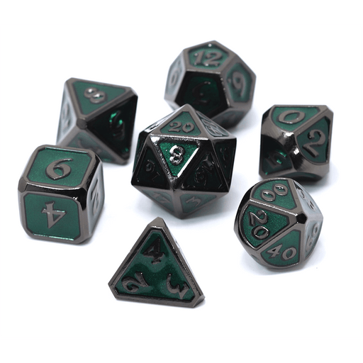 Dice 7-set Metal Mythica (16mm) Sinister Emerald