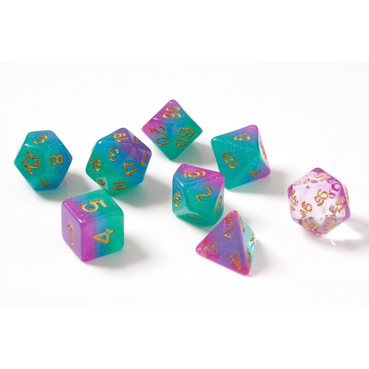 Dice 7-set Translucent Semi (16mm) Northern Lights