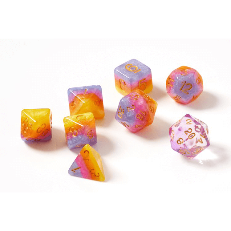 Dice 7-set Translucent Semi (16mm) Tahitian Sunset