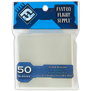 Sleeves Fantasy Flight Square (Blue 70x70mm 50ct) Clear
