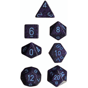 Dice 7-set Speckled (16mm) 25307 Cobalt