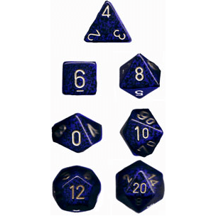 Dice 7-set Speckled (16mm) 25337 Golden Cobalt
