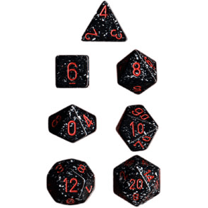 Dice 7-set Speckled (16mm) 25308 Space