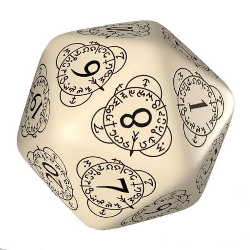 Polyhedral Dice Spindown d20 Level Counter (30mm) Beige / Black