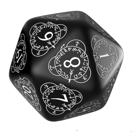 Polyhedral Dice Spindown d20 Level Counter (30mm) Black / White