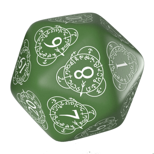 Polyhedral Dice Spindown d20 Level Counter (30mm) Green / White