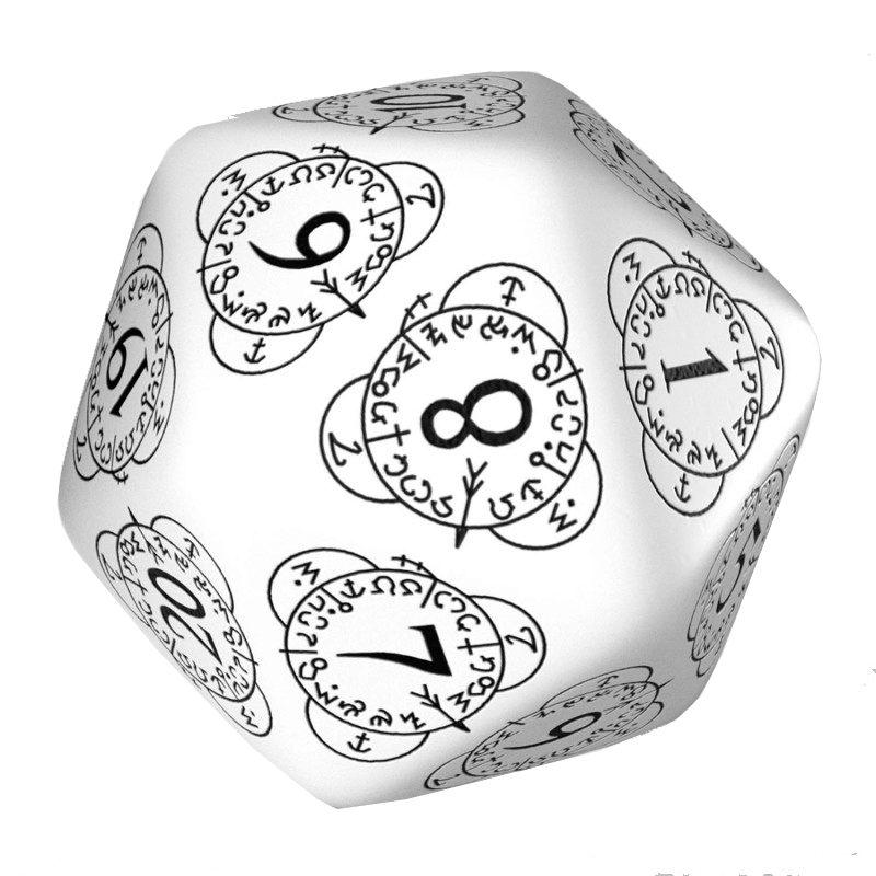 Polyhedral Dice Spindown d20 Level Counter (30mm) White / Black