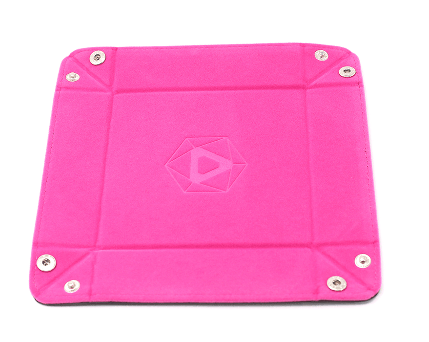Dice Tray (8x8in) Square Leather Black / Velvet Pink