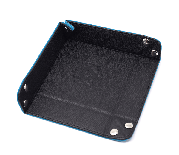 Dice Tray (8x8in) Square Leather Black / Velvet Teal