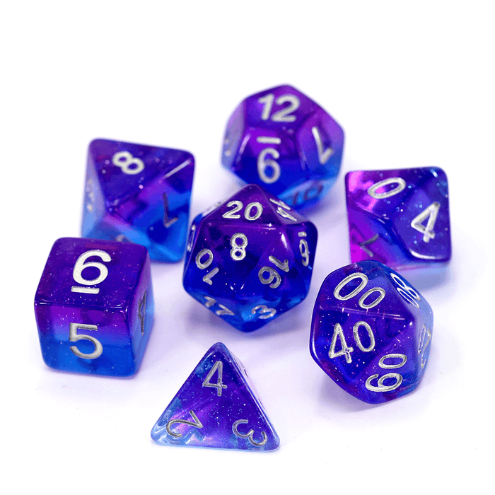 Dice 7-Set Glimmer (16mm) Starry Night