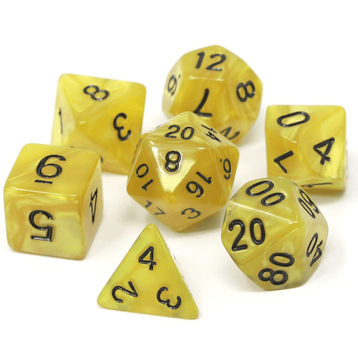 Dice 7-set Swirl (16mm) Gold Doubloons