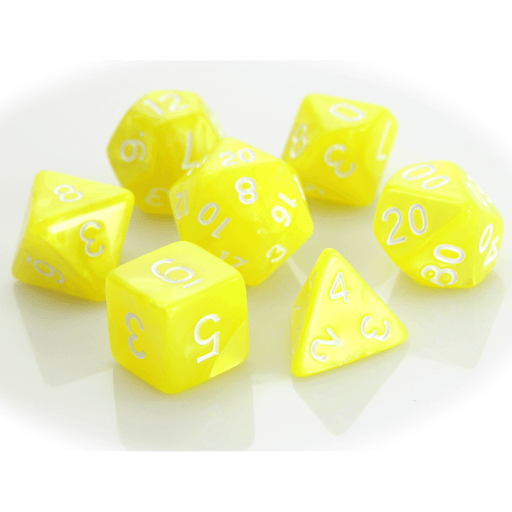 Dice 7-set Swirl (16mm) Yellow / White
