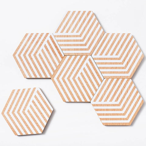 Coaster Set (6ct) Areaware Table Tiles : Natural / White