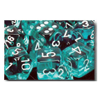 Dice Set 12d6 Translucent (16mm) 23615 Teal / White