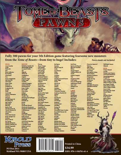 D&D (5e) Tome of Beasts : Pawns