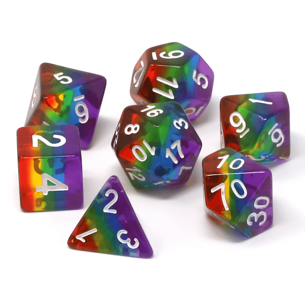 Dice 7-set Translucent Gradient (16mm) Prismatic Rainbow