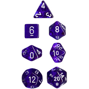 Dice 7-set Translucent (16mm) 23006 Blue / White
