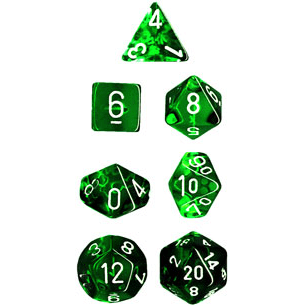Dice 7-set Mini Translucent (10mm) 23055 Green / White