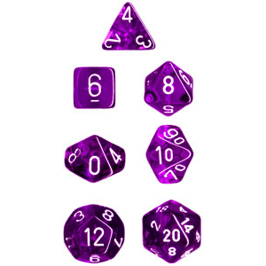 Dice 7-set Translucent (16mm) 23077 Purple / White